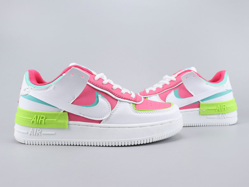2020 Nike Air Force 1 Shadow Pink White Green For Women